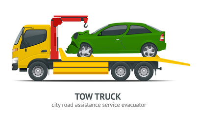 Tow truck city road assistance service evacuator. Tow truck delivers the damaged vehicle.