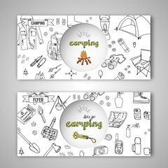 Card templates of hand drawn set with camping equipment symbols, icons, hiking, mountain climbing and camp doodle elements, vector illustration, warm clothes, shoes, gear, map, tent, fire place