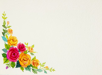Painting flowers art watercolor pattern original colorful of rose