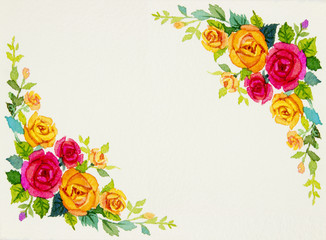 Painting flowers art watercolor pattern original colorful of roses.