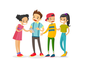 Caucasian white group of teenage friends looking at smartphone and laughing. Cheerful teenagers watching video on a smartphone. Friendship and technology concept. Vector isolated cartoon illustration.