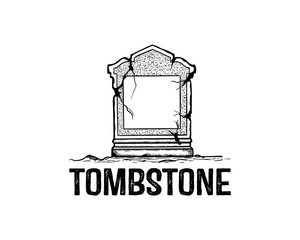 Tombstone for the RIP or the Dead Illustration Hand Drawing Logo Symbol Vector