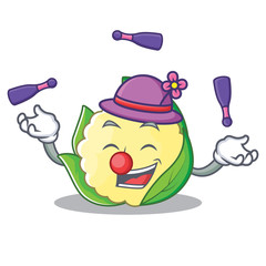 Juggling cauliflower character cartoon style