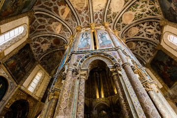 Interior of the Tomar's Knights Templar Round church decorated with late Gothic painting and sculpture.