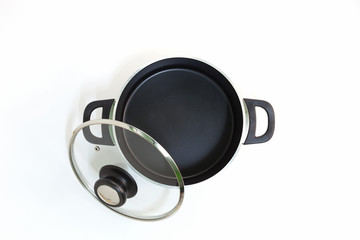empty black kitchen cooking pot isolated on white background.