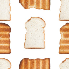 Seamless pattern of sliced bread and toast