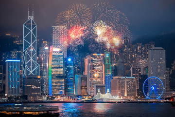 Double exposure of fireworks and Hong Kong city Fotomurales
