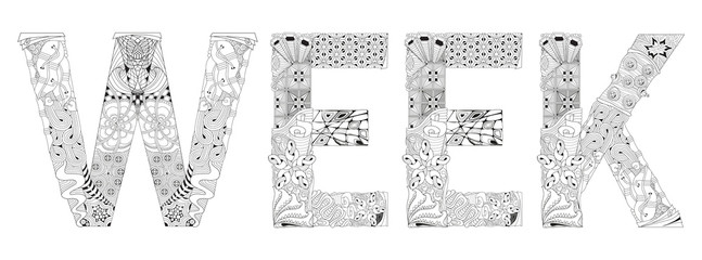 Word WEEK for coloring. Vector decorative zentangle object