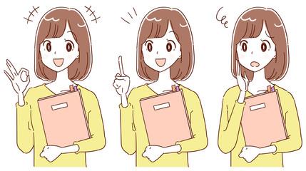 若い女性のイラスト 書類