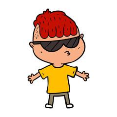 cartoon boy wearing sunglasses