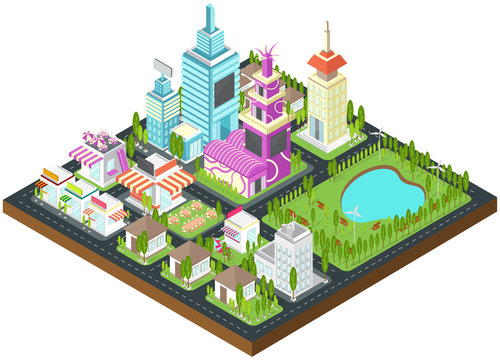 Graphic city building, real esate, house and cityscape architecture with clean wind energy environment and nature in 3D isometric design in isolated background, create by vector