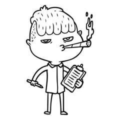 cartoon salesman smoking