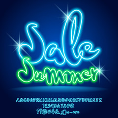 Vector neon light shopping promo poster Sale Summer. Set of bright Alphabet Letters, Numbers and Punctuation Symbols
