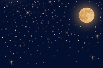 Звёздное небо и луна.