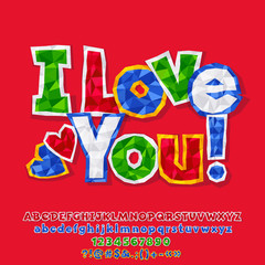 Vector colorful crumpled paper card I love you with Alphabet. Set of bright Letters, Numbers and Symbols