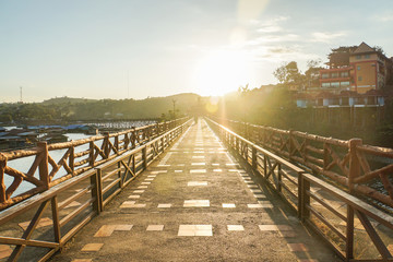 walkway with sunshine in the morning