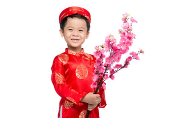 Vietnamese small boy celebrate Tet Holiday