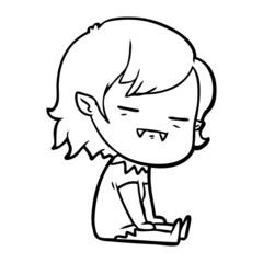 cartoon undead vampire girl sitting