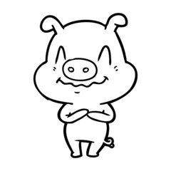 nervous cartoon pig