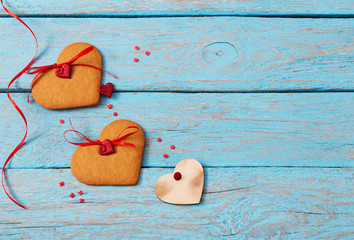 Valentines day decoration on old  background