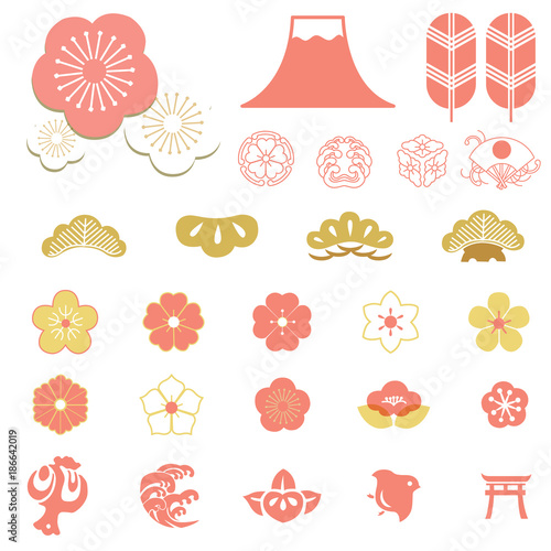 pink japanese icons and symbols decoration elements such as cherry