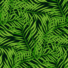 Seamless pattern with palm tree green leaves on dark background.