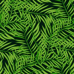 Spoed Fotobehang Tropische Bladeren Seamless pattern with palm tree green leaves on dark background.