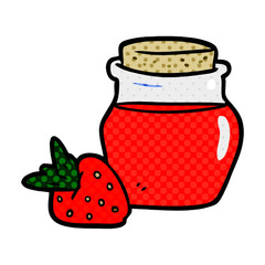 cartoon jar of strawberry jam