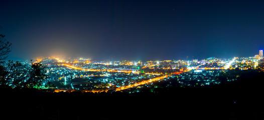 Panorama the Night Hua Hin city from scenic point, Hua Hin.