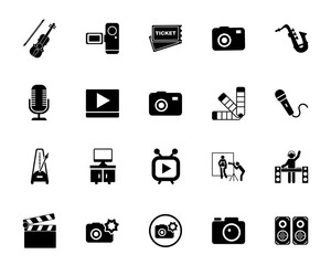 Photo, video and music icon set