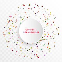 Bright colorful confetti in circular design on trasparent background.