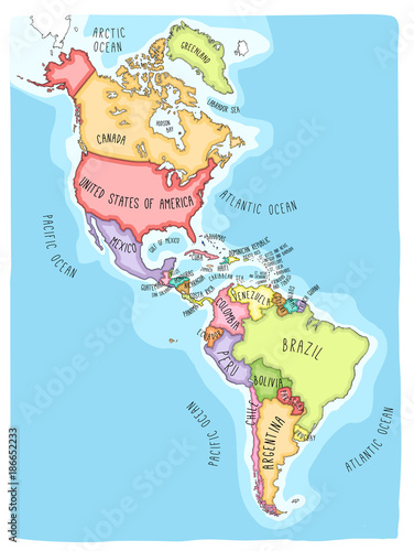 Hand drawn vector map of the Americas. Colorful cartoon style ...