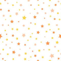 yellow and orange stars. vector seamless pattern