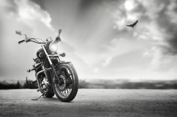 Foto op Plexiglas Fiets Freedom.Motorbike under sky