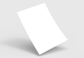 A4 format empty paper note template. White sheet  paper mock up. 3D illustrating.