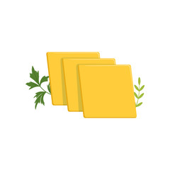 Sliced pieces of cheddar cheese with green ginger leaves. Dairy organic product. Healthy food concept. Flat vector design for advertising poster or banner