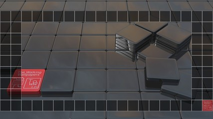 """3D rendering background with icons place for desktop size 1920x1080 with bottom taskbar, """"The Walking Wallpapers"""" series 1.01: Unfinished black mosaic with sky reflection"""
