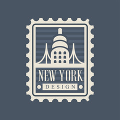 Brooklyn Bridge on American postage stamp. Famous landmark United States. Famous tourist attraction. Travel concept. Original flat vector icon isolated on blue