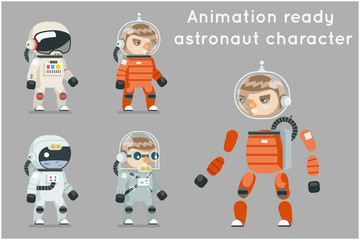 Cosmonaut Astronaut Spaceman Space Sci-fi Icons Set Animation Ready Cartoon RPG Game Flat Design Vector Illustration