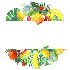 Exotic composition healthy food frame in a watercolor style. Full name of the fruit:apple, pear, cherry, lemon, pineapple. Aquarelle wild fruit for background, texture, wrapper pattern or menu.