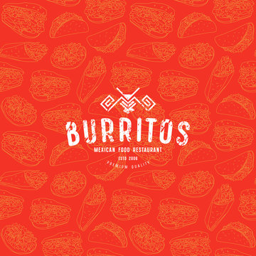 Seamless pattern and emblem for traditional mexican food restaurant