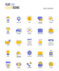 Flat line multicolor icons design-Basic and Universal