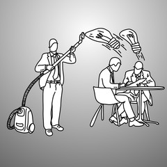 businessman using vacuum cleaner to steal idea vector illustration doodle sketch hand drawn with black lines isolated on gray background. Business concept.