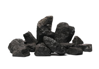Coal pile isolated on white background