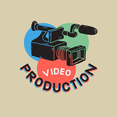 Video Production RGB Layered Design With Isolated Video Camera Drawings