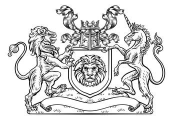 Lion and Unicorn Shield Heraldic Coat of Arms