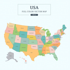 USA Map Full Color High Detail Separated all states Vector Illustration