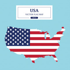 USA Map Flag Vector Illustration