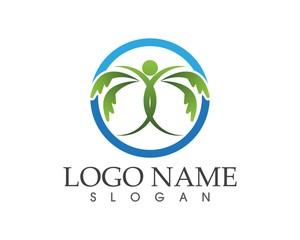 Tree people logo design template