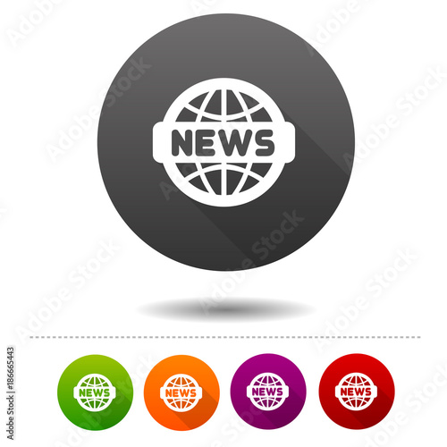 news icon word globe symbol sign web button stock image and